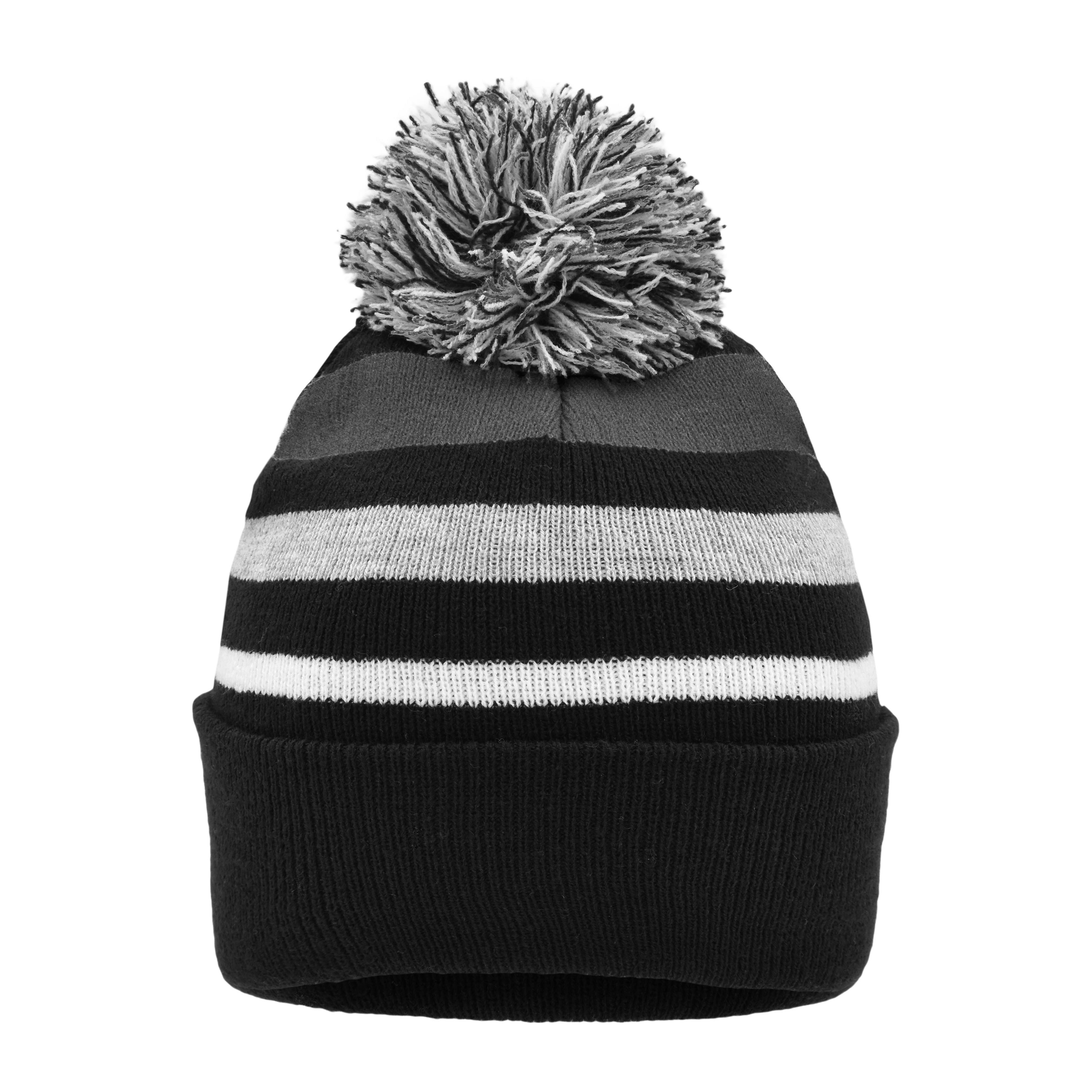 Striped Winter Beanie with Pompon